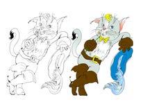 Vektorillustration, kissekatt i kängor, tecknad film Arkivbild