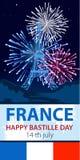 Vektorillustration, kort, baner eller affisch för den franska nationella dagen Lycklig Bastilledag vektor illustrationer