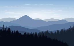 Vektorillustration, landskapsikt med solnedgång, soluppgång, himlen, moln, bergmaxima och skog för websitebakgrunden Arkivfoton