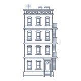 Vektorillustration - Linie gezeichneter Altbau mit Lizenzfreie Stockfotos
