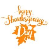 Vektorillustration: Lycklig tacksägelsedag för orange handskriven bokstäver som isoleras på vit bakgrund calligraphy Royaltyfri Bild