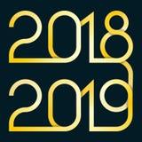 Vektorillustration med övergången 2018-2019 för nytt år royaltyfri illustrationer
