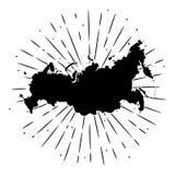 Vektorillustration med översikten Ryssland och avvikande strålar Använt för affisch, förser med märke banret, rengöringsduken, t- Fotografering för Bildbyråer