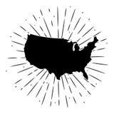 Vektorillustration med översikten USA och avvikande strålar Använt för affisch, förser med märke banret, rengöringsduken, t-skjor Royaltyfria Bilder