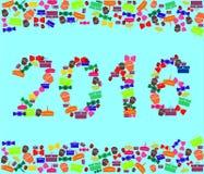 Vektorillustration med bilden av det nya året 2016 med beståndsdelar av gåvor och sötsaker Fotografering för Bildbyråer
