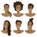 Vektorillustration med bilden av frisyrerna Royaltyfri Bild