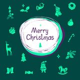 Vektorillustration med bokstäver och julsymboler Arkivfoto