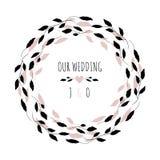Vektorillustration med den blom- ramen VÅRT BRÖLLOP Bröllopkort i minimalist stil stock illustrationer
