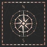 Vektorillustration med den guld- kompass- eller vindrosen och ram på mörk bakgrund royaltyfri illustrationer