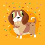 Vektorillustration med den gulliga hunden och konfettier som isoleras på en gul bakgrund Feriekort med det roliga tecknad filmtec stock illustrationer