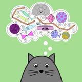Vektorillustration med den gulliga katten royaltyfri illustrationer