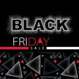 Vektorillustration med den prickiga Black Friday försäljningsinskriften i rött och vitt Designmall för baner eller till salu affi Arkivbilder