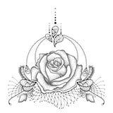 Vektorillustration med den prickiga rosblomman i svart vektor illustrationer