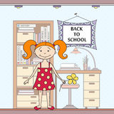 Vektorillustration med den skolaattribut och flickan Royaltyfri Foto
