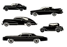 Vektorillustration med den svarta retro bilkonturn vektor illustrationer