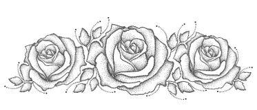 Vektorillustration med den tre prack rosblomman och sidor i svart på vit bakgrund Blom- beståndsdelar med öppet steg Arkivbilder