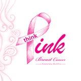 Vektorillustration med det rosa bandet och prickiga rosa virvlar på vit bakgrund Royaltyfri Foto