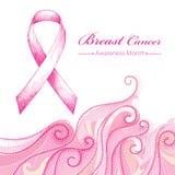 Vektorillustration med det rosa bandet och prickiga rosa virvlar på vit bakgrund Symbol för bröstcancermedvetenhetmånad Royaltyfria Foton