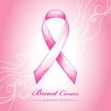Vektorillustration med det rosa bandet och prickiga vita virvlar på den rosa bakgrunden Royaltyfri Bild