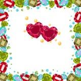 Vektorillustration med dyrbara gemstones som är kulöra, ram Olika former, hjärta, päron, oktogon, antikvitet Pärlor är gula f royaltyfri illustrationer