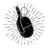 Vektorillustration med en granat och avvikande strålar på svart tavla Använt för affisch, baner, rengöringsduk, t-skjorta tryck,  Arkivfoto