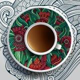 Vektorillustration med en kopp kaffe vektor illustrationer
