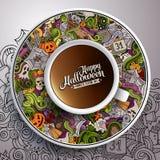 Vektorillustration med en kopp kaffeallhelgonaafton Royaltyfria Foton