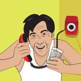 Vektorillustration med en man som talar på telefonen retro stil royaltyfri illustrationer