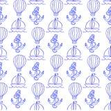 Vektorillustration med en modell i form av ett ankare och en ballong Royaltyfri Illustrationer