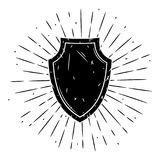 Vektorillustration med en sköld och avvikande strålar på svart tavla Använt för affisch, baner, rengöringsduk, t-skjorta tryck, p Royaltyfria Foton