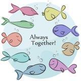 Vektorillustration med enkel design Gulliga färgrika fiskar på blått bakgrund och alltid tillsammans uttryck royaltyfri illustrationer