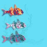 Vektorillustration med fiskar och algen royaltyfri illustrationer