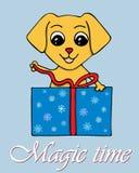 Vektorillustration med hunden som öppnar en gåva för ` s för nytt år Symb royaltyfri illustrationer
