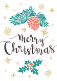Vektorillustration med isolerad jul affisch och ` för glad jul för bokstäver`, stock illustrationer