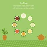 Vektorillustration med koppar av kinesiskt te Arkivfoton