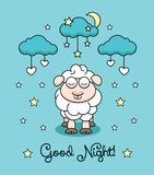 Vektorillustration med lamm-, måne-, moln- och stjärnahjärtor Royaltyfria Foton