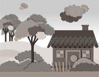 Vektorillustration med landshuset i plan stil Royaltyfri Fotografi