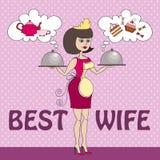 Vektorillustration med mat och den bästa frun Royaltyfri Fotografi