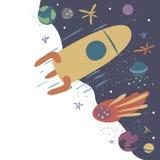Vektorillustration med raket, komet, stj?rnor och planeter Rymdflygning utforskning av rymden stock illustrationer