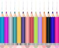 Vektorillustration med samlingen av kul?ra realistiska blyertspennor royaltyfri illustrationer