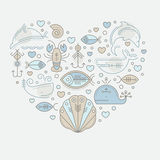 Vektorillustration med skisserade nautiska sjöfarande tecken och marin- djur royaltyfri illustrationer