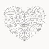 Vektorillustration med skisserat tecken av marin- djur som bildar en hjärta stock illustrationer