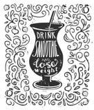 Vektorillustration med smoothien och bokstäver Arkivfoto