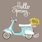 Vektorillustration med sparkcykeln och tulpan Royaltyfria Bilder