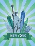 Vektorillustration med statyn av frihet och skyskraporna Royaltyfri Bild