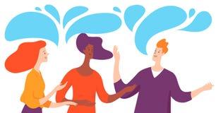Vektorillustration med tre affärspersoner som tar konversation vektor illustrationer