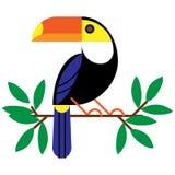Vektorillustration med tropiska sidor och fågeltukan på en filial Exotisk fågel som isoleras på vit bakgrund stock illustrationer