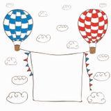 Vektorillustration med två baloons för varm luft arkivbilder