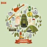 Vektorillustration med utrustningar för att fotvandra och att campa på cirkelform