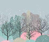Vektorillustration med vinterskogen, abstrakt textur stock illustrationer